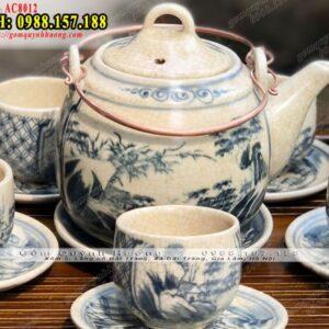 Ấm chén men rạn cổ đẹp vẽ sơn thủy và phụ kiện - Ấm pha trà