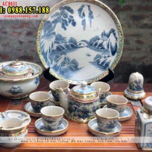 Ấm chén uống trà Bát Tràng bọc đồng và phụ kiện