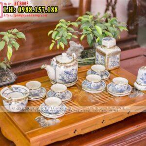 Ấm trà men rạn cổ của Bát Tràng dáng vại vẽ sen và phụ kiện