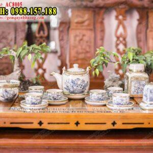 Ấm trà men rạn Bát Tràng dáng vại vẽ sen và phụ kiện
