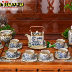Ấm trà men rạn cổ bọc đồng dáng vai vuông và phụ kiện