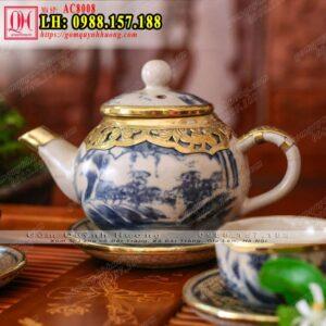 Ấm trà men rạn nhật bọc đồng giả cổ - Ấm pha trà cảnh sơn thủy
