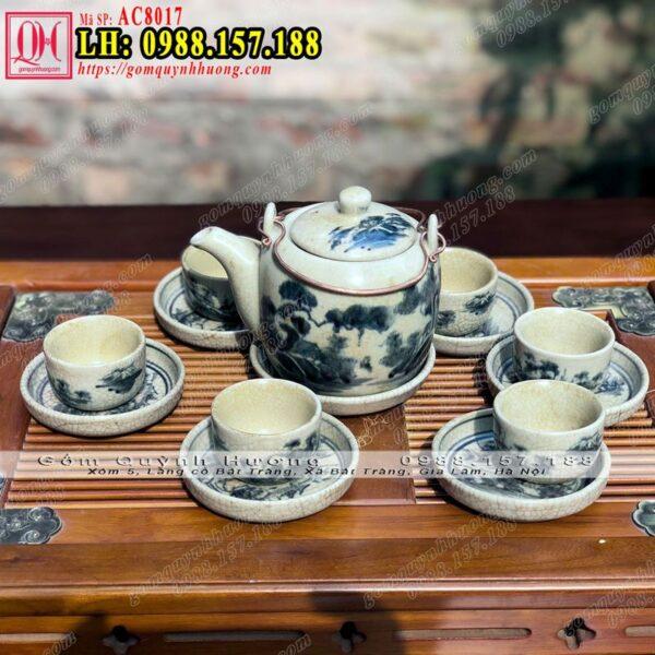 Bình pha trà bằng sứ - Ấm chén Bát Tràng men rạn