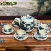 Bình pha trà bằng sứ Bát Tràng men rạn giả cổ