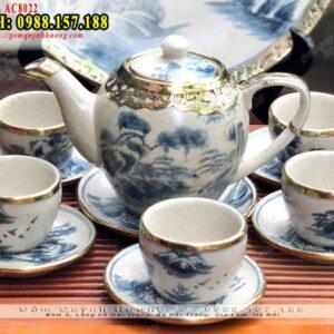Bộ ấm chén trà đẹp men rạn Bát Tràng bọc đồng