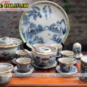Bộ ấm pha trà Bát Tràng men rạn bọc đồng đẹp