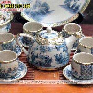 Bộ ấm uống trà và phụ kiện men rạn bọc đồng đẹp - Ấm dáng siêu quai sứ