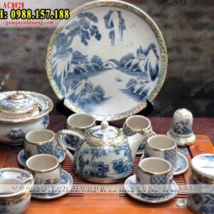 Bộ ấm uống trà và phụ kiện men rạn bọc đồng đẹp