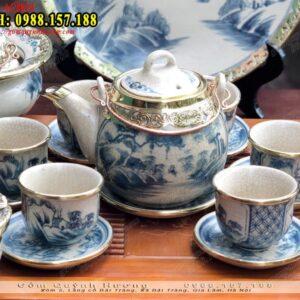 Bộ bình trà Bát Tràng cao cấp men rạn bọc đồng - Ấm chén gốm sứ
