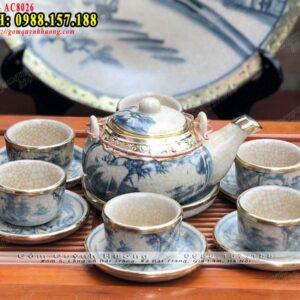 Bộ tách trà sứ cao cấp men rạn Bát Tràng bọc đồng - Ấm chén gốm sứ giả cổ