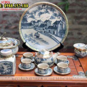 Bộ tách trà sứ cao cấp men rạn Bát Tràng bọc đồng