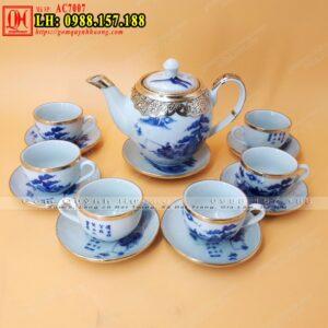 Ấm trà gốm sứ Bát Tràng men lam bọc đồng