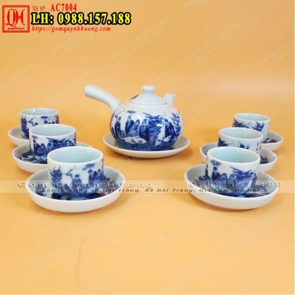 Ấm trà men lam - Giá bộ ấm chén Bát Tràng cao cấp