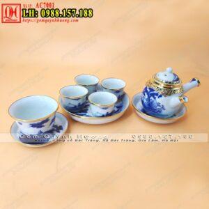 Bộ ấm trà đạo cao cấp gốm sứ Bát Tràng bọc đồng 3