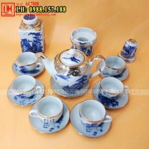 Bộ ấm trà sứ Bát Tràng bọc đồng và bộ phụ kiện