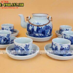 """Bộ ấm chén uống trà men lam vẽ cảnh """"Trúc Lâm Thất Hiền"""""""