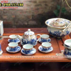Bộ uống trà Bát Tràng ấm chén gốm sứ và phụ kiện