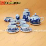 Ấm chén Bát Tràng men lam - Cửa hàng bán ấm trà