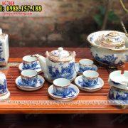 Ấm chén trà men lam - Bộ ấm trà Bát Tràng TpHCM