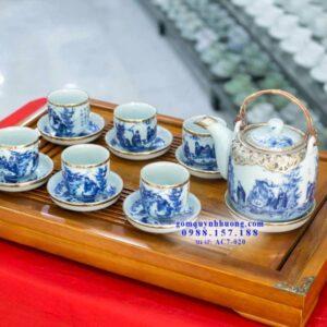 Bộ ấm chén uống trà Bát Tràng cao cấp bọc đồng