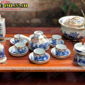 Bộ ấm trà Bát Tràng cao cấp men lam bọc đồng