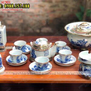 Bộ ấm trà cao cấp Bát Tràng men lam bọc đồng và phụ kiện