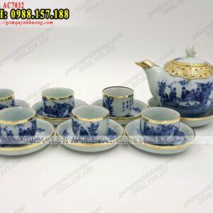 Bộ ấm trà giả cổ men lam bọc đồng Trúc Lâm Thất Hiền - Ảnh 2