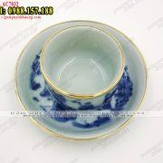 Bộ ấm trà giả cổ men lam bọc đồng vẽ cảnh Trúc Lâm Thất Hiền - Chén (ly,tách) uống trà