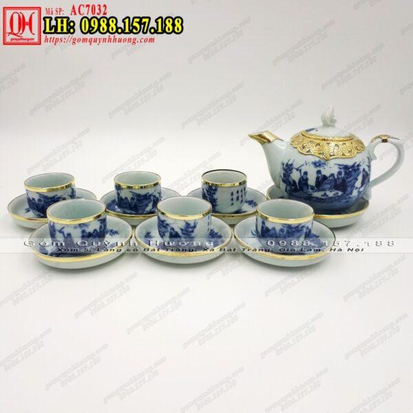 Bộ ấm trà giả cổ men lam bọc đồng Trúc Lâm Thất Hiền