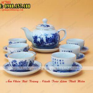 Bộ ấm trà sứ cao cấp vẽ Trúc Lâm Thất Hiền men lam - Ảnh 2