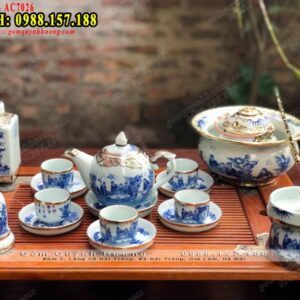 Bộ bình ly uống trà đẹp men lam Bát Tràng bọc đồng