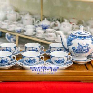 Bộ trà sứ Bát Tràng vẽ chùa một cột mã AC7025