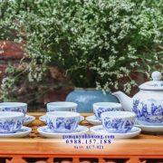 Trúc lâm thất hiền vẽ tay trên ấm chén trà Bát Tràng