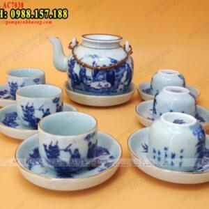 Bình trà cao cấp gốm sứ Bát Tràng viền chỉ vàng- Ảnh 1