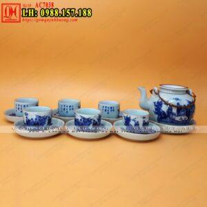 Bình trà cao cấp gốm sứ Bát Tràng men lam viền chỉ