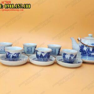 Bình trà gốm sứ Bát Tràng men lam viền chỉ vàng - Ảnh 1
