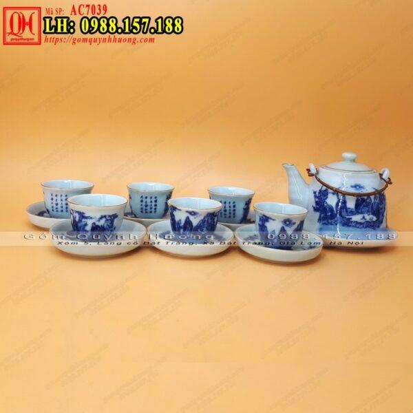 Bình trà gốm sứ Bát Tràng men lam viền chỉ vàng