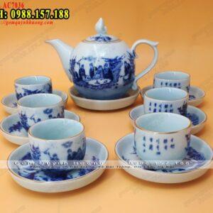Mua bộ ấm trà gốm sứ Bát Tràng - Gốm Quỳnh Hương