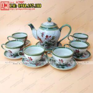 Ấm trà Bát Tràng dáng chóe đại vẽ chuồn AC9007