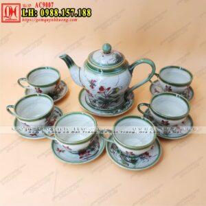 Ấm trà Bát Tràng dáng chóe đại vẽ chuồn AC9007 - Ảnh 1