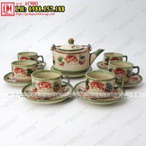 Bộ ấm chén uống trà gốm sứ Bát Tràng mã AC9003