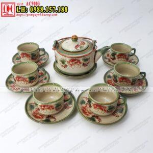 Bộ ấm chén uống trà gốm sứ Bát Tràng mã AC9003 - Ảnh 1