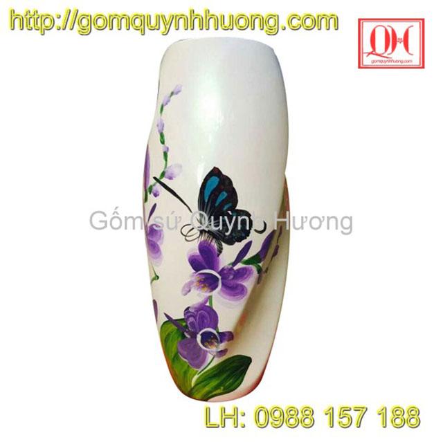 Lọ hoa gốm sứ Bát Tràng dáng bom xoắn sơn mài vô cùng độc đáo, ấn tượng