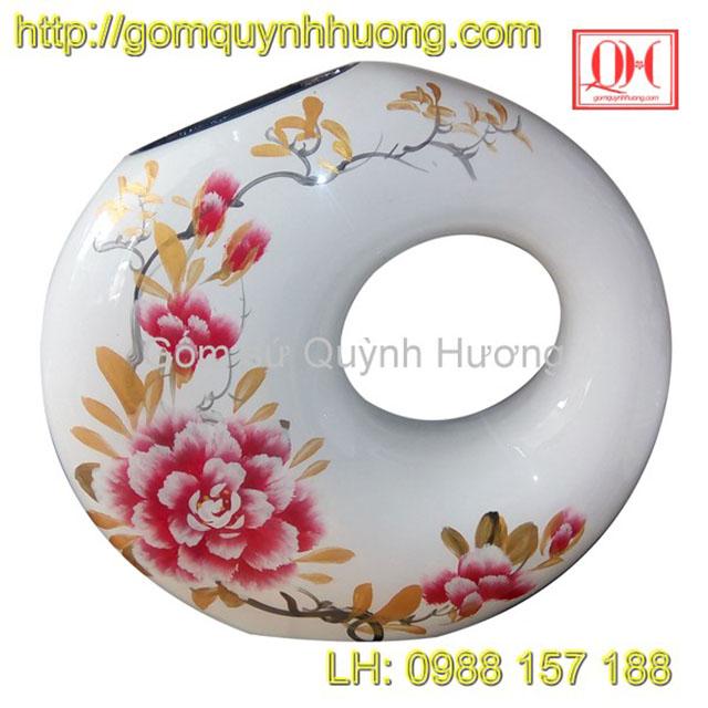 Lọ hoa Bát Tràng sơn mài cao cấp với cốt gốm sứ Bát Tràng. Sản phẩm thích hợp làm quà biếu, hoặc in logo làm quà tặng